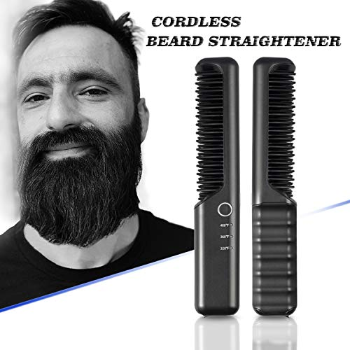 Travel Cordless Beard Straightening Brush for Men, Battery Operated Beard Straightener 4000mAh, Portable for Dating, Meeting, Traveling, Camping etc