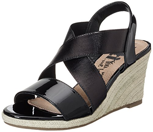 XTI Damen Black Mirror PU Ladies Sandals Plateausandalen Schwarz (Black)