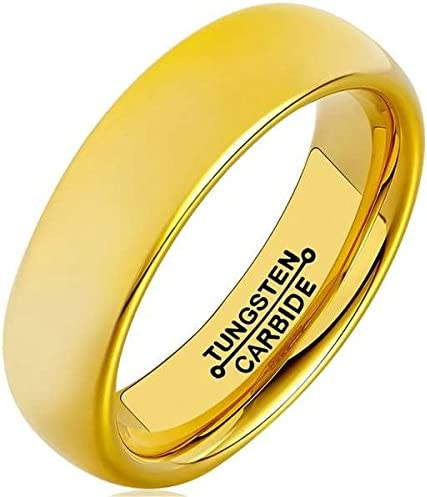Bishilin 6mm Gold Mens Rings Stainless Steel Wedding Bands High Polished Engagement Rings Size:10