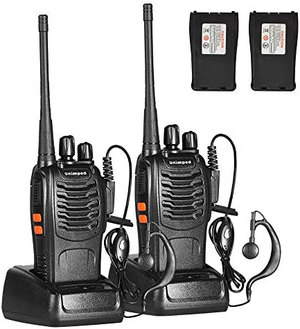 unimped Walkie Talkie 2pcs 400-470MHZ UHF Rechargeable Battery Headphone Wall Charger Long Range 16 Channels Two Way Radio 2pcs radios