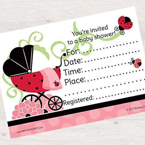 Birthday Direct Ladybug Baby Shower Fill In Invitations 16 count with Envelopes - 16 pack Red Garden Party Invites for Baby Shower -