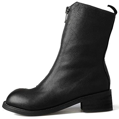 514 Low Leather 3 Jushee Womens Ankle Heel Boots Black Juworth Zipper cm wPRCAqC
