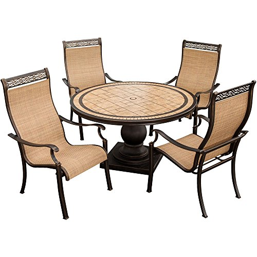 Hanover MONACO5PC Monaco 5-Piece High-Back Sling Chair Outdoor Dining Set (Chairs High Back Patio Sling)