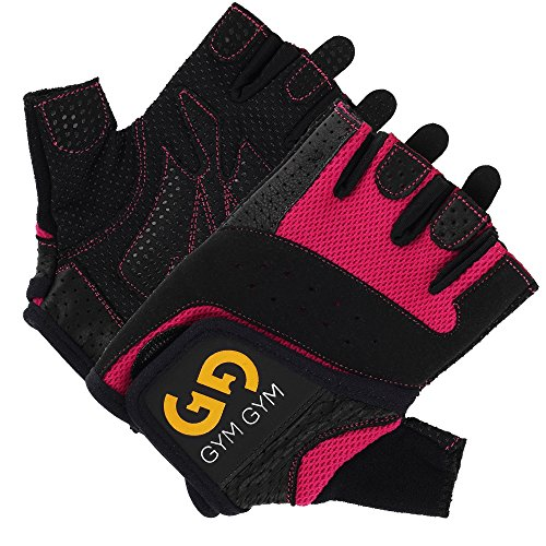 Weightlifting Gloves Pair by GYM GYM, For Women, Half-Finger Design, Quality Material, Comfortable, Secure No-Slip Grip, Sweat-Resistant, Easy Wear, Washable, Essential Workout Accessory (Pink, Small)