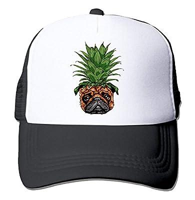 NVJUI JUFOPL Funny Pineapple Pug Unisex Fitted Mesh Hat Baseball Caps Black