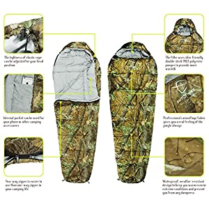 Hitorhike Mummy Sleeping Bag 0 Degree with Carry Bag Portable 3 Season Camping, Hiking, Traveling, Backpacking Lightweight Camo Camping 3 Season Sleeping Bag