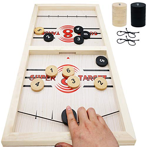 """Fast Sling Puck Game Large 22""""×11.8"""" Fusball Winner Board Game Wooden Slingshot Hockey with Number for Adults & Kids Family Party"""