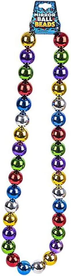 Mirror Ball Necklace Multicolored Disco Ball Reflects Light 42 Inches Party Favor