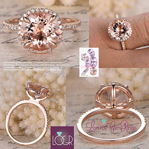 Pave Round Gold Ring (Round Morganite Engagement Ring Pave Diamond HALO 14K Rose Gold 9mm)