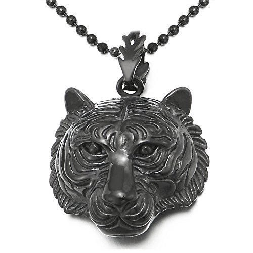 - COOLSTEELANDBEYOND Stainless Steel Mens Women Black Tiger Head Pendant Necklace with 30 inches Ball Chain