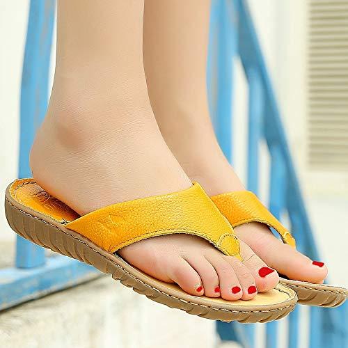 Plat Jaune Flops Taille De Blanc EU Clip Femmes Fuxitoggo 39 Doux Sandales Flip coloré Toe Cuir Plage xa4qOnRX