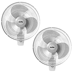 Air King 16 Inch Commercial Grade Oscillating 3 Blade Wall Mount Fan (2 Pack)