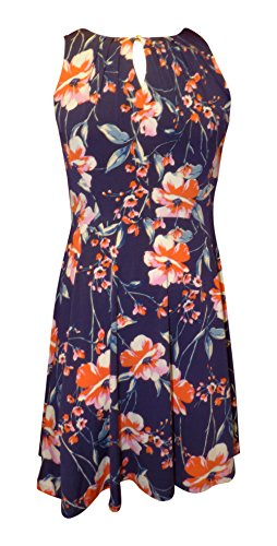 - Ivanka Trump Womens Printed Matte Jersey Hardware Chain (X-Large, Navy/Coral)