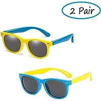 NALCY 2 Piezas Kids Gafas de Sol, Kids Sunglasses polarizadas flexibles de goma, Toddler Gafas de sol de silicona para niños de 3 a 12 años de edad