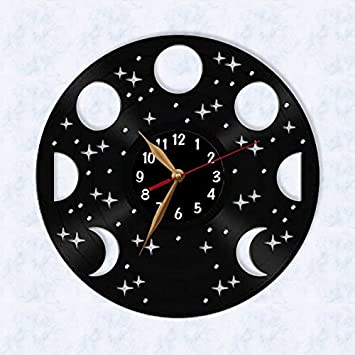 Moon Phases Wall Clock, Vinyl Record Clock 12 inch (30cm) / Laser cut