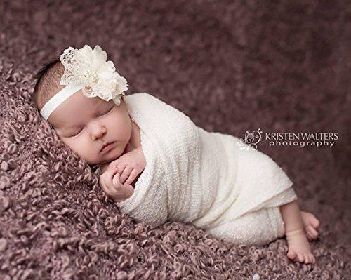 Amazon.com  Ivory lace chiffon baby girls headband ac2cf32ebc5