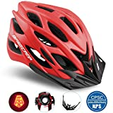 Cheap Basecamp Specialized Bike Helmet with Safety Light,Adjustable Sport Cycling Helmet Bicycle Helmets for Road & Mountain Motorcycle for Men & Women,Youth Safety Protection (Red with Big Light)