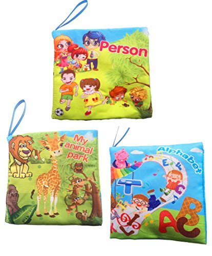 (WELLSKEY Set of 3 pcs Soft Book Babies Toddler Interactive Education Book(Alphabet &Persons & My Animal)