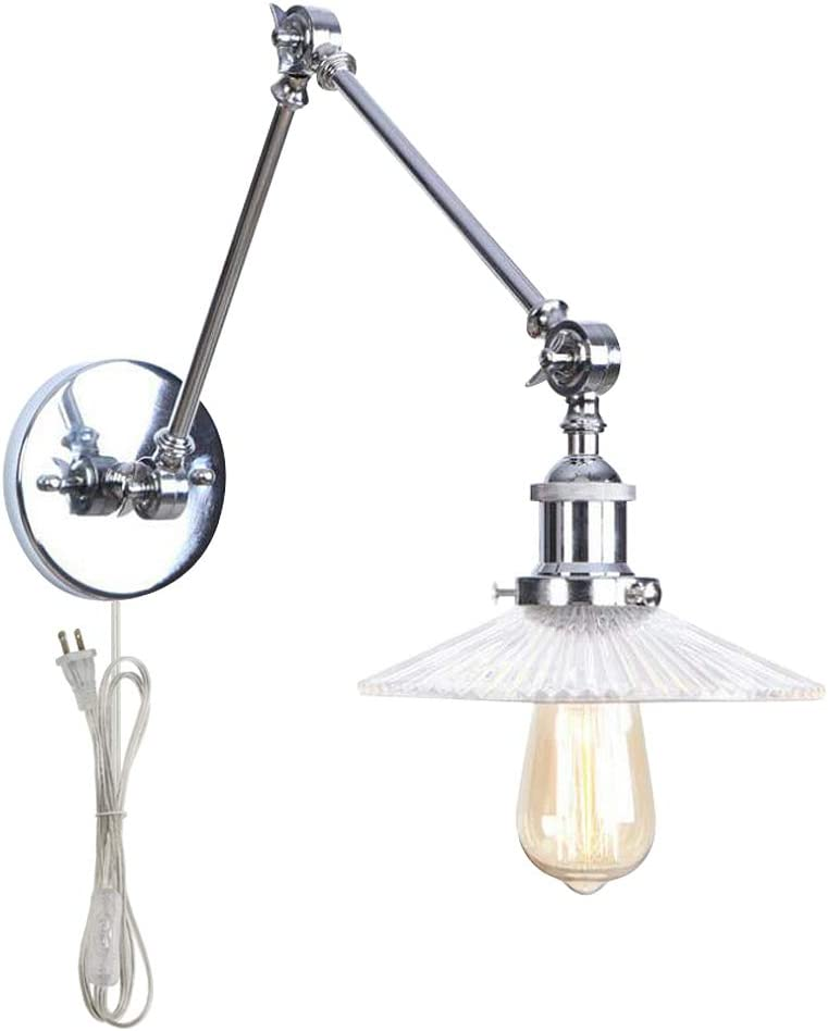ANYE Two Sections Adjustable Swing Arm Wall Sconces with UL Plug-in Button Cord Loft Retro Style Lights Fixtures Industrial Wall Lamp for Bedroom Cabinet Bulb Sold Separately 51XT4dh085LSL1000_