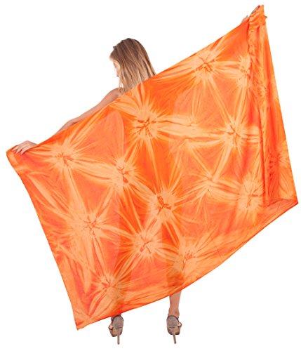 """LA LEELA Rayon Scarf Deal Dress Bikini Wrap  Sarong Tie Dye 78""""X43"""" Orange_4692"""