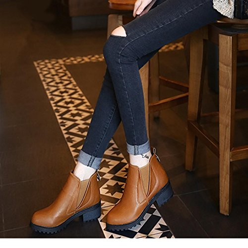 Boots Ankle Winter Womens Brown Shoes Honestyi Fashion Boots Winter Artificial leather Heels Low Autumn Boots Plastic Women New Boots xSFXY7gxq