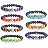 SROMAY 7 Pcs Chakra Healing Bracelet Natural Lava Stone Essential Oil Diffuser Bracelet - Mala Meditation Buddha Head Buddhist Prayer Beads Bracelet for Men Women
