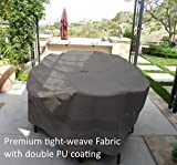 Premium Tight Weave Patio Set Cover 110″x65″X38″ H, Oval style Fits Oval or Rectangular table set, Center hole for Umbrella in Grey Review