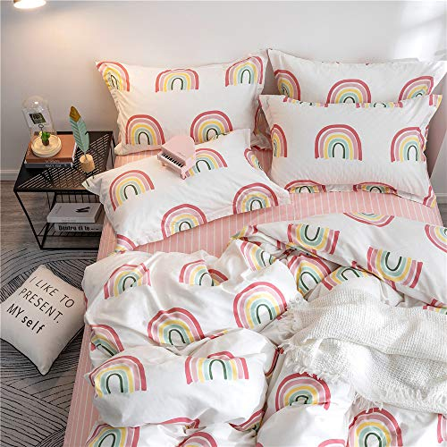 OTOB Children Cartoon Rainbow Duvet Cover Set Cotton 100 3 Piece Twin Bedding Set for Kids Baby Toddler Crib, Twin (Matching Twin Bedding And Sets Crib)