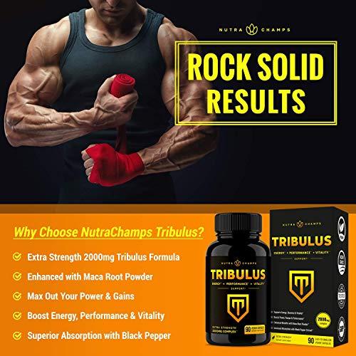 Tribulus Terrestris 2000mg Supplement | Extra Strength Saponins + Enhanced Absorption with Maca Powder & Black Pepper Extract | Tribulus Terrestris for Men & Women | 90 Vegan Capsules