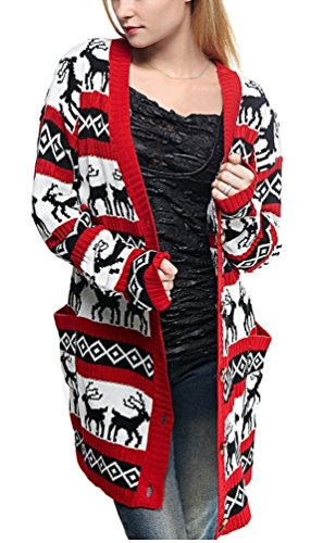 Womens Oversized Christmas Reindeer Cardigan (Large, Red Reindeer Cardigan) -
