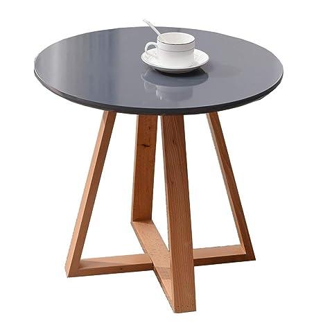 Amazon.com: Mesa redonda pequeña de madera maciza y elegante ...