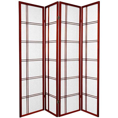 Oriental Furniture 6 ft. Tall Double Cross Shoji Screen - Rosewood - 4 Panels by ORIENTAL FURNITURE (Image #2)