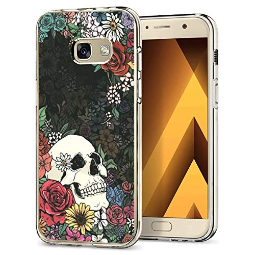Case Compatible with Samsung Galaxy A5 2017 Case Transparent Soft TPU Silicone Skin Shockproof Bumper Cover for Samsung Galaxy A5 2017 Smartphone - Halloween Skull Flower ()