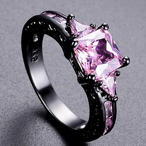 Tomikko Pink/Purple Amethyst Band Womens Black Gold Fil Wedding Party Ring Size 6-10 | Model RNG - 24770 | 6