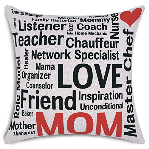 Happy Mother's Day Decorative Throw Pillow Covers Cotton Linen Home Decor Mom Friend Love Cushion Covers 18 x 18 inch
