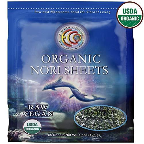 Earth Circle Organics   Raw Certified Organic Nori Seaweed   Grade 'A' Rating   Unheated & Not Roasted   Vegan   Paleo & Keto Friendly   Premium Quality Nori 50 Sheets