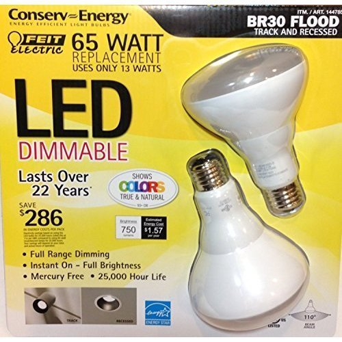 65 Watt LED BR30 Flood Track and Recessed Pack of (2) Feit Electric