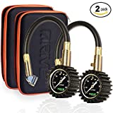 Drive Auto Products Tire Pressure Gauge (2-Pack) by Accurate 60psi Reading Car Truck or Bike Tires, Rugged Housing & Travel Case is Heavy Duty, Air Monitoring Tool with Braided Hose and Dual Chuck