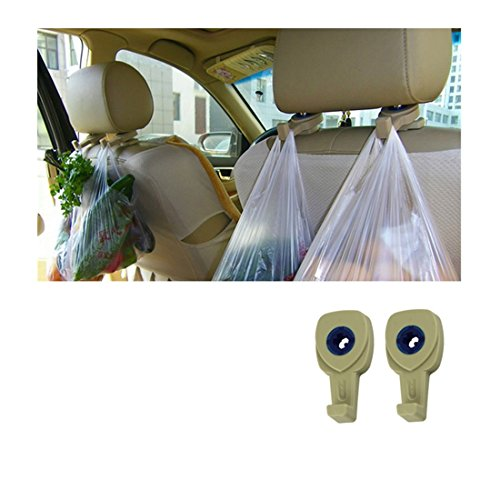 Iuhan® Fashion Portable Car Auto Seat Hanger Purse Bag Organizer Holder Hook Headrest 2Pcs (Beige)