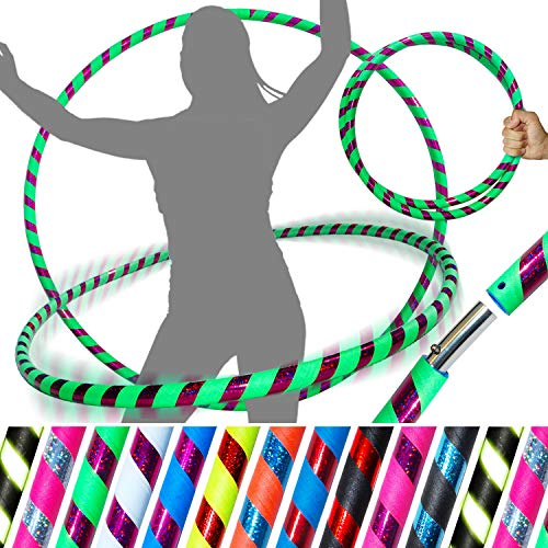 PRO Hula Hoops (Ultra-Grip/Glitter Deco) Weighted TRAVEL Hula Hoop (100cm/39') Hula Hoops For Exercise, Dance & Fitness! (640g) NO Instructions Needed - Same Day Dispatch.! (UV Green / Purple Glitter) ()
