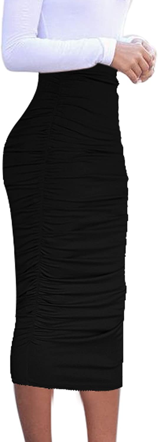 VFSHOW Womens Elegant Ruched Ruffle High Waist Pencil Midi Mid-Calf Skirt