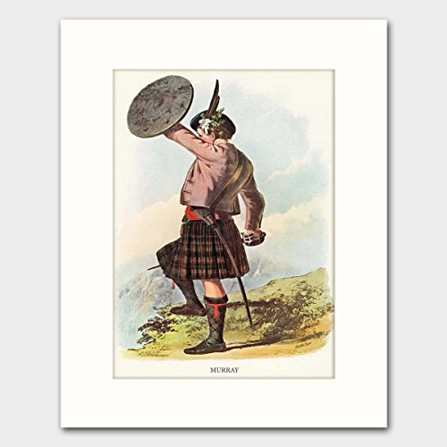 Scottish Clan Costume (Murray Clan, Family Name Art w/Mat (Scotland Wall Decor, Scottish Highlands Dress) - Matted Print)
