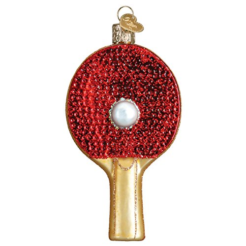 Old World Christmas Glass Blown Ornament Ping Pong Paddle (A) (44105)