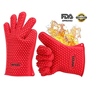 HYFEEL Silicone BBQ Cooking Gloves Kitchen Oven Mitts Heat Resistant for Baking Grilling Frying Barbeque with Fingers,1 Pair (Red)