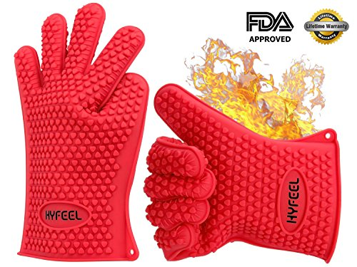 HYFEEL Silicone BBQ Cooking Gloves Kitchen Oven Mitts Heat Resistant for Baking Grilling Frying Barbeque with Fingers,1 Pair (Red) by HYFEEL
