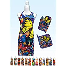 Springbok Butterfly Frenzy Adjustable Kitchen Apron, Oven Mitt and Pot Holder Set