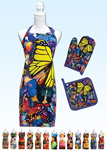Springbok Butterfly Frenzy Adjustable Kitchen Apron, Oven Mitt and Pot Holder Set ()