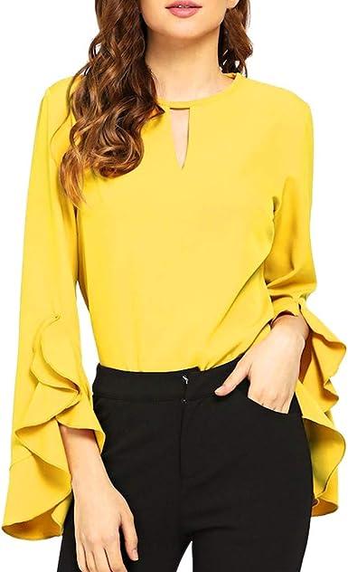 Qingsiy Moda Blusa Color sólido de Manga Media con Volantes para Mujer Plisado Cuello Redondo Blusa sólida Manga Larga Cremallera Tops(Amarillo,L): Amazon.es: Ropa y accesorios