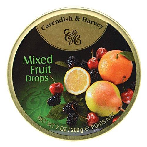 Cavendish & Harvey Mixed Fruit Drops 7oz, Metal Tin