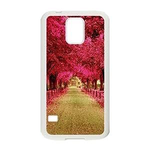 Samsung Galaxy S5 Cases Pink Trees Walkway, Samsung Galaxy S5 Cases Pink Flower, [White]